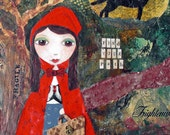 Little Red Riding Hood  - Mixed Media Art Collage Painting ACEO / ATC Print