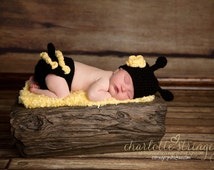 Little Miss Bumble Bee Beanie and Matching Diaper Cover in Black and Yellow Available in Newborn to 24 Months Size- MADE TO ORDER