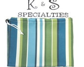 Laundry Bag/Striped Fabric In Classy Light Blue, Bright Blue, Green, Creme/Personalized/Gifts:Graduation, Travel, College Life, Bridal Party