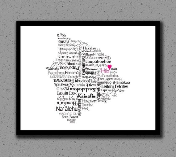 Wedding Gift From Hawaii : Hawaii Print, Map, Big Island, Hawaiian Islands, Destination Wedding ...