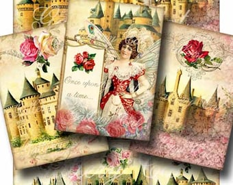 FAIRYTALE CASTLES Digital Collage Sheet Instant Download Magnificent Castle Fairy Scrapbooking Tags Cards Vintage Crafts Gallery Cat CS219