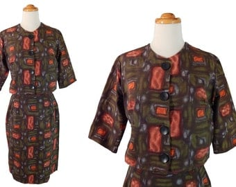 1960s Box Jacket and Skirt Suit Orange Abstract Print. Waist 26