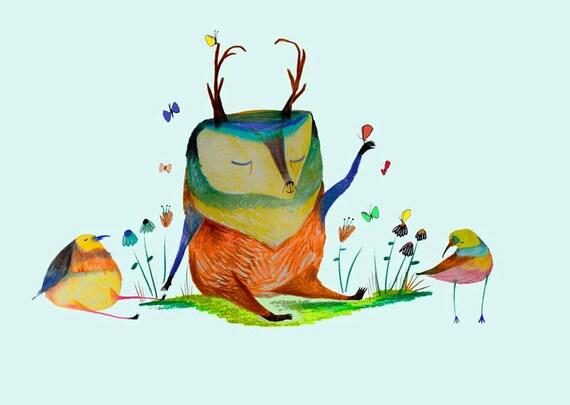 Deer and friends. Nursery decor - kids wall art - children's decor - baby room art - baby decor - art print.