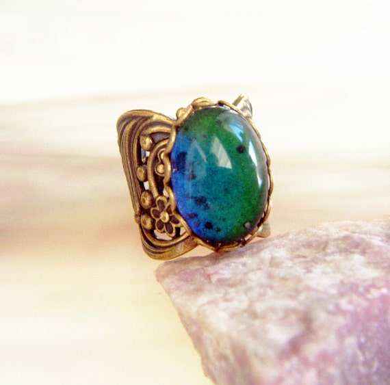 mood ring vintage antique floral brass by candisuescreations