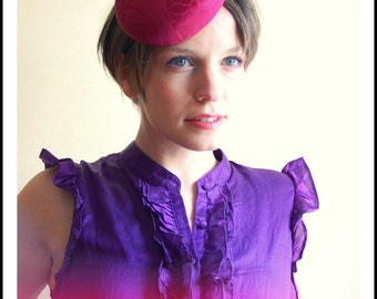 Cocktail hat Hot Pink kimono silk pillbox hat