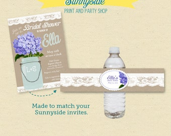 Water Bottle Label - Printable - Rustic Country Wedding Shower - You choose flower!