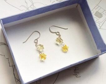 Yellow Swarovski star earring, Swarovski crystal earring, yellow star earring, sterling silver earring, kawaii jewelry, Gift Idea, Teens