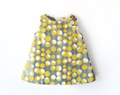 Reserved for Delphine Girl Dress Retro Reversible yellow mustard and grey with bloomer