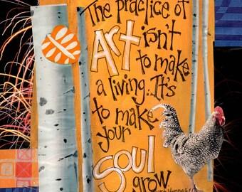 ART & SOUL, Artist Gift, Designers Gift, Art Therapist Gift, Inspirational, Wall Art, Mixed Media Art Signed by Seattle Artist Mary Klump