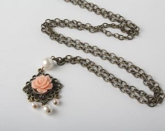 peach rose necklace  vintage style brass necklace -long chain flower necklace  gift for her - Made in Canada - Bijoux Karma