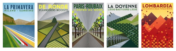 Set of 5 Cycling Art Prints - Monument One Day Classics Image: Neil Wyatt - The Handmade Cyclist
