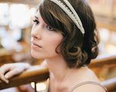 Empire bridal Headpiece -  Grecian champagne braid trim japanese beads 18k chain - 20s headband MADE TO MEASURE - 1920s  flapper
