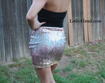 Last One! Small Light Pink Sequin Skirt Gradient - Stretchy, multi color going out skirt - Small, beautiful gradient