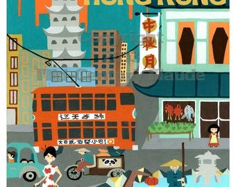 Hong Kong Mid Century Modern Travel Poster Art Print Retro Vintage Look, teal burnt orange