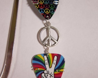 Guitar Pick Bookmark- Peace- Rock and roll