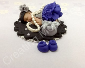 Fondant Baby - Pearls are Girls Best Friends - Silver and Purple Dress/Edible Cake Topper Made of Vanilla fondant /BABY SHOWER decorations