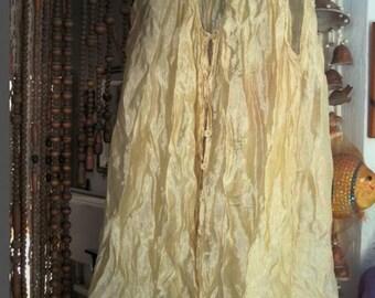 Delicate Golden Tan Light-Weighted Crinkled Blouse / Tunic / Vest, Vintage - XLarge