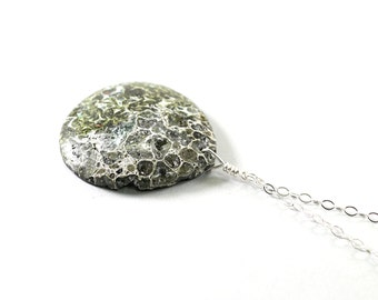 Mens necklace: snake skin pattern jewelry for men, green stone necklace, tribal jewelry sterling silver