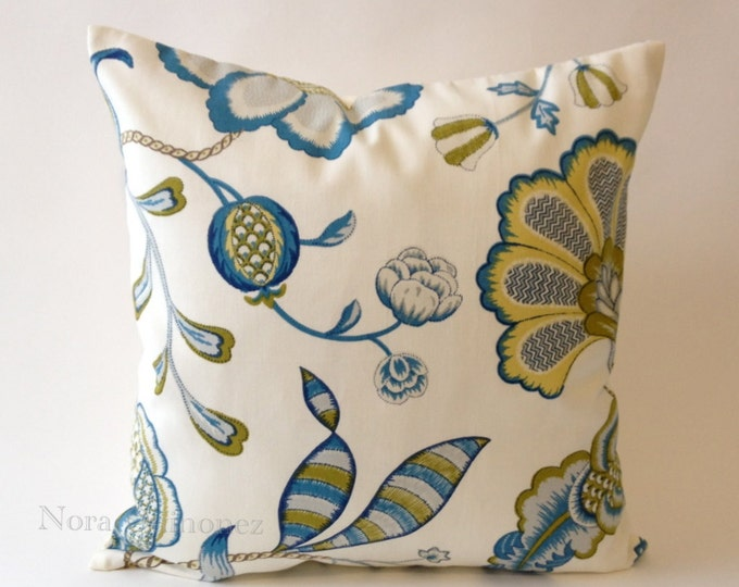 20x20 Blue and Citron Floral Jolene Print Decorative Pillow Cover - Solid Off White Canvas Backing -Medium Weight Cotton