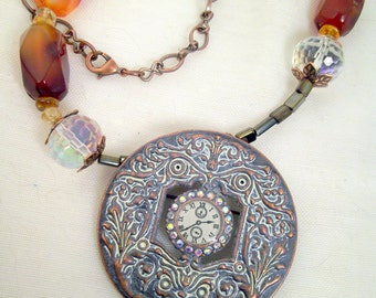 Faux metal clockface necklace, scrollwork, rhinestone bezel, agate nuggets, citrine, crystals, copper chain, Boho: Victorian Time