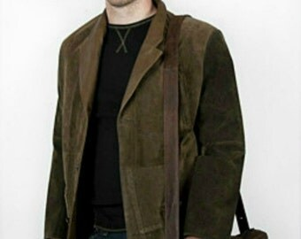 Mens khaki lambskin leather and suede coat