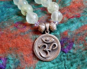 Om Necklace, Om Pendant, Yoga Jewelry, Prehnite, Yoga Inspired