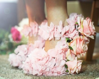 Pink Flower Shoes, Hand Made with Roses, wedge heels, curved moon heel, wedding shoes, flower shoes, wedge shoes, Rose shoes, red shoes
