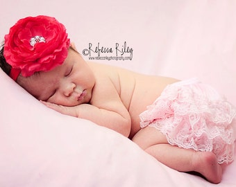 Red Flower Baby Headband Newborn Headband Photo Prop Red Rannie Flower Headband Newborn Toddler Girl
