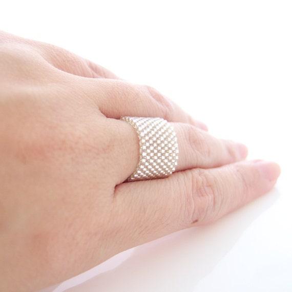 Silver Ring, Beaded Silver Ring, Silver Ring Band, Couple Ring, Dreadlocks Bead