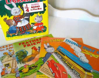 Vintage Books - Children's  - Set of 4 - Little Tot''s Library - Platt & Munk  - 1943 - Retro Child's Book Set