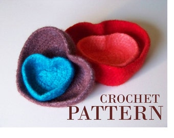 Crocheted Bowl Pattern - instructions for felted heart shaped nesting bowls