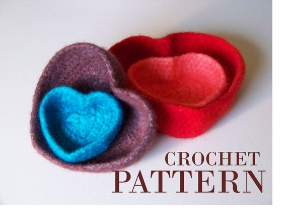Felted Heart Bowls Crochet Pattern