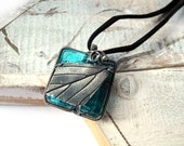 Teal Murano Glass Necklace - Silver Leaf Necklace - Geometric Necklace - Emerald Turquoise - Minimalist Simple Necklace - Nature Necklace