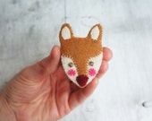 felt fox brooch, felt fox, felt jewellery, fox pin, british wildlife, handmade brooch