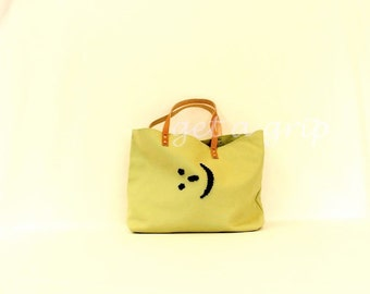 "Canvas Tote..."":-)""  AVOCADO tote bag with PERSONALIZED leather label"
