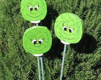 LETTUCE - Double sided Wooden Garden Personality Plant Marker -Gift for the gardener