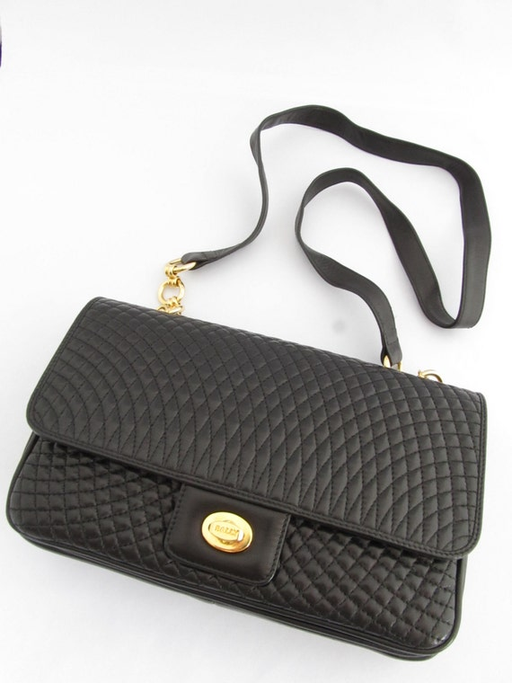 Bally Vintage Quilted Lambskin Flap Shoulder Bag By
