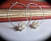 Pearl earrings // Sterling Silver // Hoops //  Pearl cluster // Bridal jewelry // Bridesmaids // Fashion // Feminine // Gift //