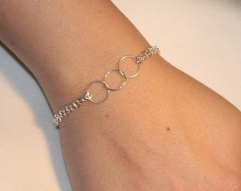 Past Present & Future Infinity Bracelet - Bridesmaid Gift - Sterling Silver - Made to Order