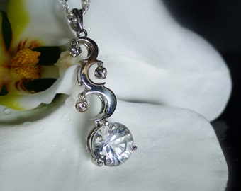 Unique White Gold Wedding Jewelry, Moon Pendant, Moon and Stars Pendant, White Gold Moon Pendant, White Gemstone Gold Pendant, Herkimer