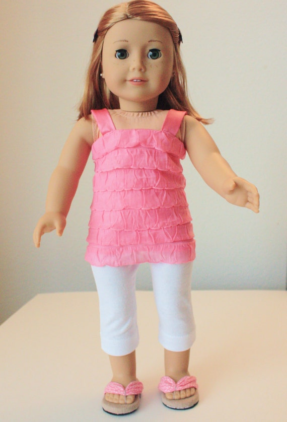 Trendy spring outfit, with flip flops for American Girl, 18 inch doll, modern clothes