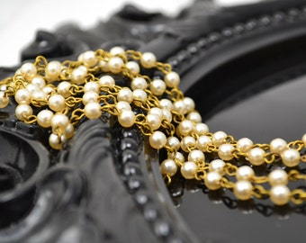 Pearl Chain - 4mm Creme Pearls on Natural Brass Links - Czech Glass Pearls - 3 Feet