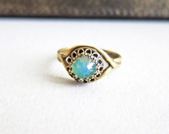 Aquamarine Ring Turquoise Ring Blue Ring Teal Ring Antique Filigree Swarovski Crystal Ring Mother's Day Gift Jewelry Ring Great Gatsby