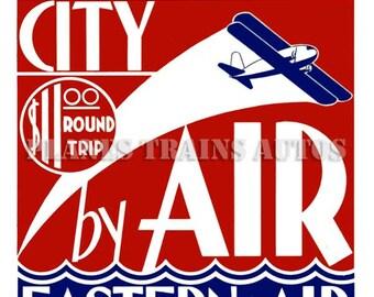 Vintage Eastern Air Poster advert. Eastern Air Transport Atlantic City By Air 1933. Instant Download - Printable Poster