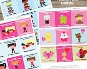 Valentine Cards - Editable Text - Printable PDF - Instant Download - Valentine Exchange - Valentine's Day Card - Superhero Valentine