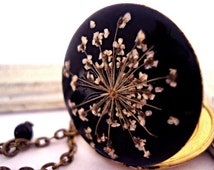 Flower Dreams - black enameled bronze locket necklace with real dried flowers and a pearl