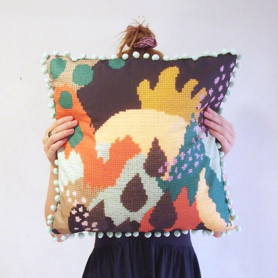 Unique Printed Meandering Cushion Cover with Abstract Needlework Design and Pom Pom Trim