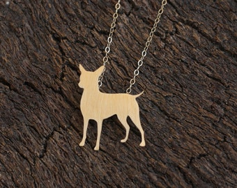 Chihuahua Necklace , Golden Dog Charm , Cute Chihuahua Jewelry , Gold Dog Jewelry , Chihuahua Dog Necklace , Dog Pendant , Chihuahua Pendant