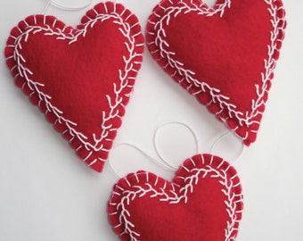 Trio of Red, Embroidered Felt Heart Ornaments - All Hand-Stitched Folk Art