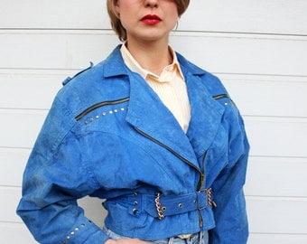Vintage 80s Studded Blue Suede Cropped Biker Jacket